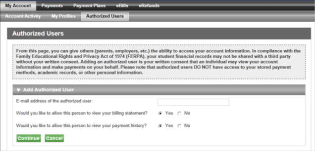 Screenshot of Authorized Users screen.